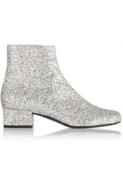 Saint Laurent Glitter-finished ankle boots