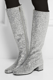 Saint Laurent Glitter-finished leather knee boots
