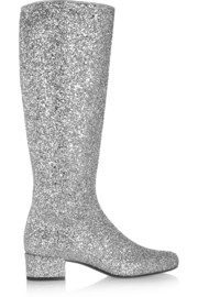 Glitter-finished leather knee boots