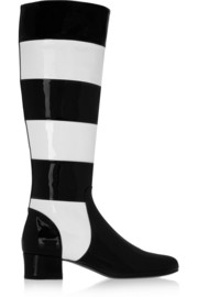 Saint Laurent Striped patent-leather knee boots