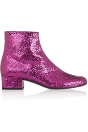 Saint Laurent Glitter-finished leather ankle boots