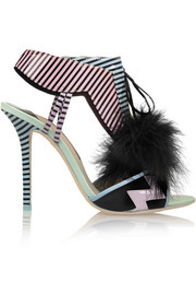 Sophia Webster Leilou marabou-trimmed patent-leather sandals