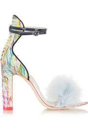 Sophia Webster Nicole feather-trimmed ostrich sandals