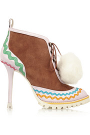 Sophia Webster Katy shearling-lined suede and leather ankle boots