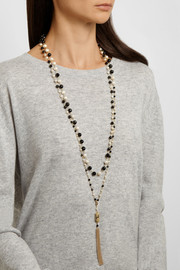 Rosantica Rosarietto gold-dipped, onyx and pearl necklace