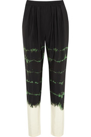 Christine tie-dyed silk-crepe tapered pants