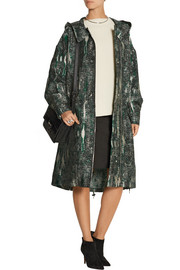 Hooded jacquard parka