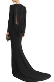 Stella McCartney Fringed stretch-crepe gown