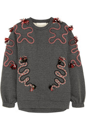 Embroidered cotton and wool-blend jersey sweatshirt