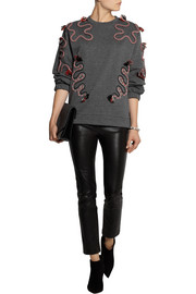 Stella McCartney Embroidered cotton and wool-blend jersey sweatshirt