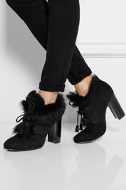 Barbara goat hair-lined suede boots