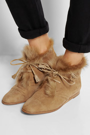 Pedro Garcia Yurena goat hair-trimmed suede ankle boots
