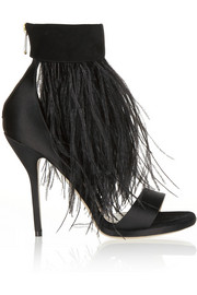 Paul Andrew Sofia feather-trimmed suede and satin sandals