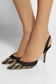 Paul Andrew Aw Deco Soir bead-embellished satin pumps