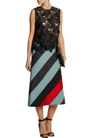 Jonathan Saunders Amelia striped wool and satin midi skirt