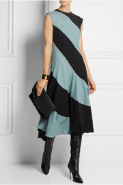 Jonathan Saunders Football striped wool and stretch-woven midi dress