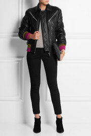 Jonathan Saunders Marley cashmere-trimmed leather bomber jacket