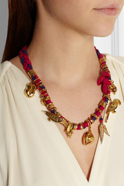 Virzi+De Luca Rio gold-plated and cotton charm necklace