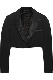 Cropped wool-blend tuxedo jacket