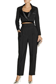 Vika Gazinskaya Cropped wool-blend tuxedo jacket