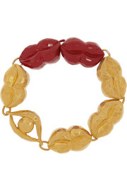 Virzi+De Luca Kiss And Tell enameled gold-plated bracelet
