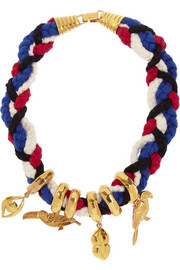 Virzi+De Luca Native Of Rio gold-plated and cotton charm necklace