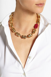 Virzi+De Luca Kiss and Tell enameled gold-plated necklace