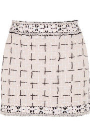 Meadham Kirchhoff Lala embroidered wool-bouclé mini skirt