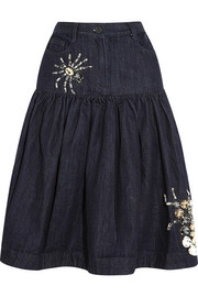 Crystal-embellished ruched denim skirt
