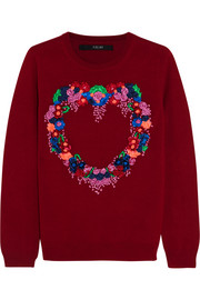 Sibling Heart-appliquéd merino wool sweater