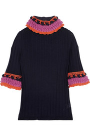 Sibling Crochet-trimmed merino wool sweater