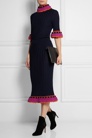 Sibling Crochet-trimmed merino wool skirt