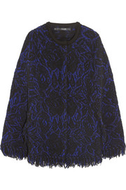 Fringed wool-blend cape