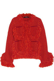 Fringed merino wool-bouclé jacket