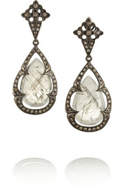 Loree Rodkin 18-karat rhodium white gold, diamond and sapphire earrings
