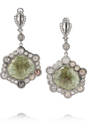 Loree Rodkin Brittany 18-karat rhodium white gold, sapphire and diamond earrings