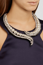 Shourouk Piuma Perle gold-plated, Swarovski crystal and faux pearl necklace