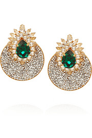 Shourouk Luna Comet gold-plated Swarovski clip earrings