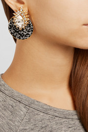 Shourouk Luna gold-plated Swarovski crystal clip earrings