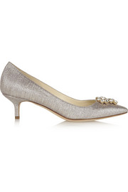 Brian Atwood Jael crystal-embellished lamé pumps