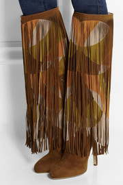 Brian Atwood Lindy fringed suede knee boots