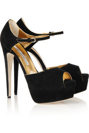 Brian Atwood Suede peep-toe platform pumps