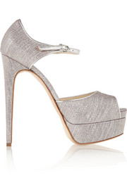Brian Atwood Lamé-covered leather peep-toe platform pumps