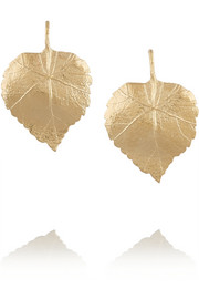 Central Park gold-plated leaf earrings