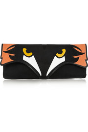 Fox suede and leather clutch