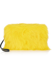 Rhea leather-trimmed goat hair clutch