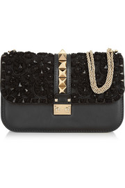 Valentino Glam Lock embellished leather shoulder bag