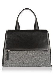 Givenchy Medium Pandora Flap bag in black leather and wool flannel