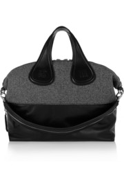 Large Nightingale bag in wool-tweed and black leather