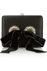 Alexander McQueen Embellished satin box clutch